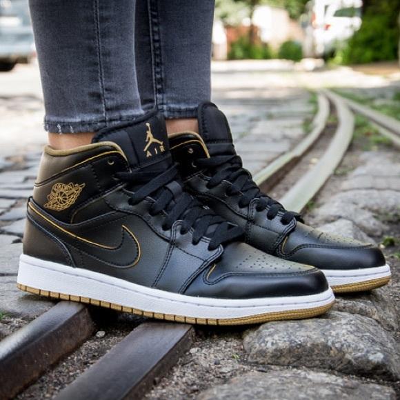 5827072d4b Jordan Shoes | Air 1 Mid Black Gold Nike Retro | Poshmark